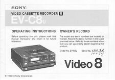 Instruction Operating User Manual for Sony Ev-C8U Video8 8mm Vcr Deck