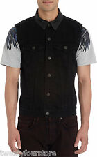 NWT $268 Mens J Brand Jeans Leather Collar Denim Vest in Silent Black sz S