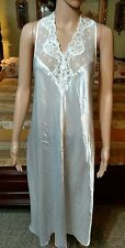 VINTAGE INTIMO AMORE BRIDAL NIGHTGOWN LINGERIE LONG WHITE LIQUID SATIN LACE