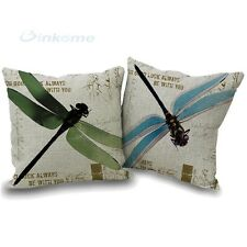 New Home Decor Blue Dragonfly Linen Cotton Cushion Cover Pillow Case 45 * 45CM