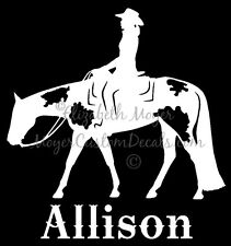 Western Pleasure Paint Horse Rider (#2) Decal Sticker U Choose NAME & COLOR!