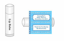 20 Personalized Lip Balm Glossy Baby Shower It's A Boy Favor Labels Stickers