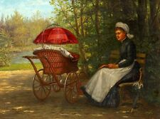 Oil painting AUGUST LAUX - Mother with Trolleys baby In the Park landsdcape AAAA