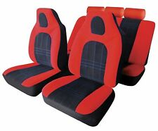 MONZA UNIVERSAL FULL SET SEAT PROTECTOR COVERS RED & BLACK SMOOTH VELOUR FABRIC
