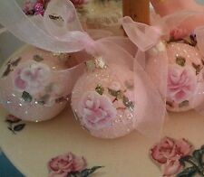 Hp rose Valentines Day pink 3 ornaments hand painted shabby cottage chic Paris