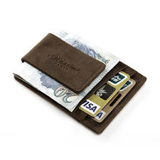 Men Crazy Horse Credit Card Holder Leather Wallet With Magnetic Money Clip