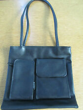 LADIES BLACK ZIP TOP HANDBAG FULLY LINED 2 COMPARTMENTS INTERNAL/EXTERNAL POCKET