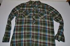 QUIKSILVER GREEN BLUE PLAID POCKET DRESS SHIRT MENS SIZE 2XL XXL