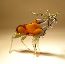 "Blown Glass Figurine ""Murano"" Art Animal Brown Elk MOOSE"
