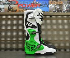 2017 Fox Racing Mens SE White Black Green Monster/PC Comp 8 MX Boots SIZE 13