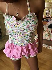 Vintage 1950s Rouched Cats in Boots Novelty Print Bathing Suit