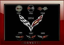 MAGNET  Automobile Fridge PHOTO MAGNET Corvette Emblem 1953 to 2014