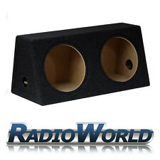 "12"" MDF Twin Sub Box Subwoofer Enclosure Bass Empty Enclosure Black Double"