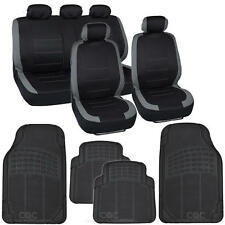 "13pc Seat Covers & Rubber Mats for Car Black/Gray w/ High-Grade Mats ""Venice"""