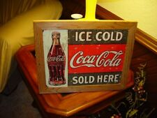 COCA COLA CUSTOM CEDAR FRAMED VINTAGE RETRO TIN RESTAURANT BAR SIGN WEATHERED