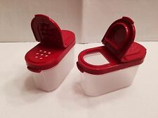 Tupperware Small Spice Shakers Set Of 2 Clear With Red Seals 4 Oz New