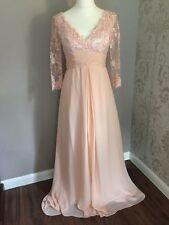 NEW Sparkling Lace V Neck Size 12-14 Peach/Nude Wedding/Evening Dress