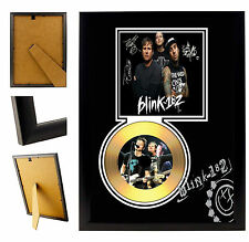 BLINK 182  - A4 SIGNED FRAMED GOLD VINYL COLLECTORS CD DISPLAY PICTURE