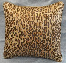 Pillow made w Ralph Lauren Venetian Court Leopard Sateen Fabric / cording  18x18
