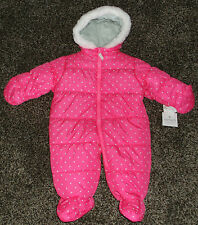 NWT Baby Girls Polka Dot Snow Suit Size 6-9 Months