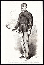 1874 small b&w magazine engraving - Sargent in Charge of Fort Marion