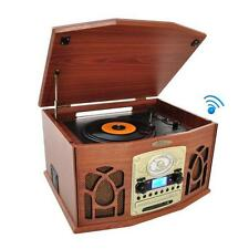 New Bluetooth Retro Vintage Turntable Record Player with Vinyl-to-MP3 Recording