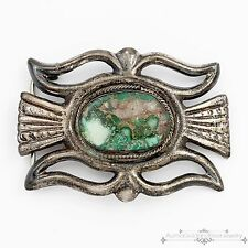 Antique Vintage Navajo Native Sterling Silver Miss Moffet Turquoise Belt Buckle!