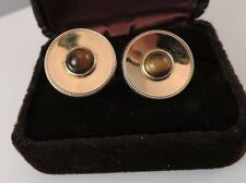 Vintage Anson Men Gold tone Round Hinged Cufflink Brown Tiger Eye Cabochon Fa 34