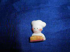 BAKER w/ Sliced BREAD CHEF COOK Flat Miniature Figurine FRENCH Porcelain FEVES