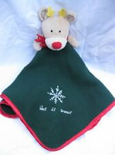 Carters Let It Snow Reindeer Green Red Christmas Holiday Lovey Security Blanket