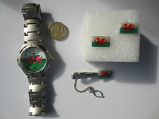 Round Rugby Football Wales Cymru flag Wrist Watch Tie Pin and Cufflinks set #2