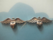 6 TIBETAN SILVER WINGED HEART CHARMS BEADS 3D ROMANTIC RETRO WICCAN DOUBLE SIDED