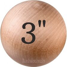 """NEW 3"""" WOOD BALL UNFINISHED HARDWOOD / BUY 3 BALLS AND GET 1 BALL FREE / WOW"""