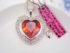 Betsey Johnson Fashion Jewelry inlay red Crystal Heart Pendant Necklace