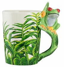 Jungle Coffee Mug With Frog Handle 14 Ounce Ceramic Bevarage Hot Cup