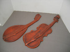 2 Royal Metal Musical Instrument Wall Hanging / Plaques - Violin & Mandolin