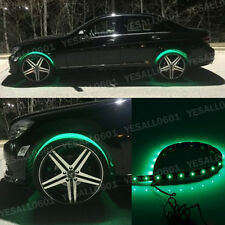 "4x 24"" Green LED Wheel-Well Neon Glow Flexible Strip Lights Car Fender Lamps Kit"