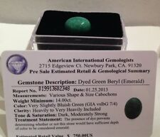 Certified $750.00 Dyed Emerald Green Beryl Gemstone - 14.00 carats