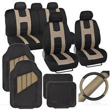 Rome Sport Set - 2 Tone Beige Black Car Seat Cover, Rubber Mat & Steering Cover