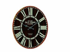OLD TOWN LONDON OVAL 39 x32cm GLASS ROUND WALL CLOCK 79/3088