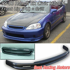 Mu-gen Style Front Lip (PU) + TR Style Grill (ABS) Fits 99-00 Honda Civic 2dr