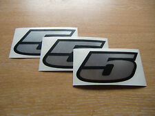 set of 3 - Black & Chrome number 5 decals / stickers IMPACT 60mm