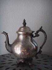 """Antique Repousse Etched Silver Plate Teapot Coffee Pot Vintage 10"""""""