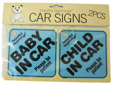 2 x CHILD IN CAR Baby on board car window Safety signs  BLUE