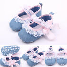 Girls Kids Denim Lace Baby Shoes Soft Sole Toddler Crib Shoes 3-12M Prewalker