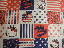 HELLO KITTY USA Statue of Liberty Red White Blue FQ Cotton Fabric Craft Quilt