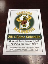 Sanford Mainers (ME) NECBL Baseball Fold Out Schedule 2014