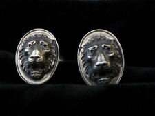 Victorian Sterling Silver Lion repousse Push Out Cufflinks