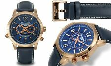 NEW Paul Perret 12183 Men's Swiss Moonphase Anatole Series Rose Gold/Blue Watch