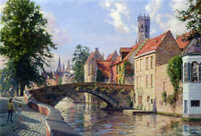 John Stobart Print - Bruges: A View Along the Groene Rei